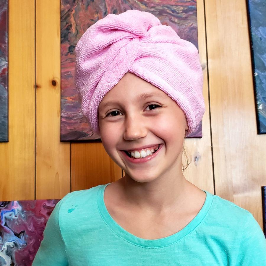 Kaylee wearing pink head towel