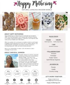 Screenshot of Happy Mothering Media Kit October 2019
