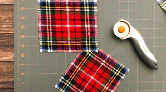 Two pieces of flannel fabric cut with a rotary cutter