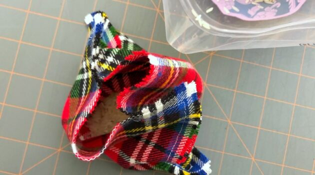 Sewn fabric pouch filled with rice
