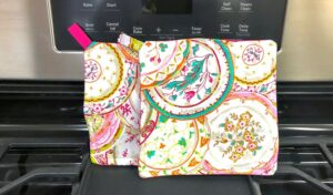 Two easy homemade pot holders on a stove