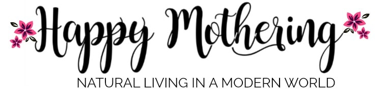 Happy Mothering Header Image with Flowers and Natural Living in a Modern World tagline