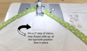 Sewing a velcro strip with the fuzzy size up at the top position of the sandwich wrap