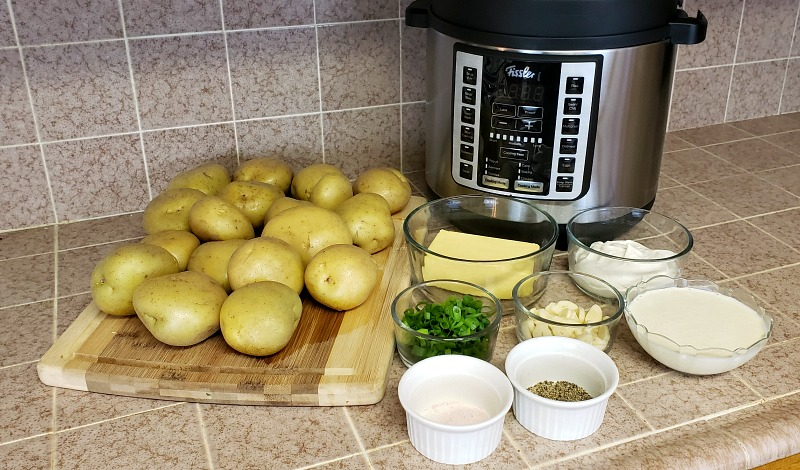 Ingredients to make garlic mashed potatoes in the Fissler pressure cooker