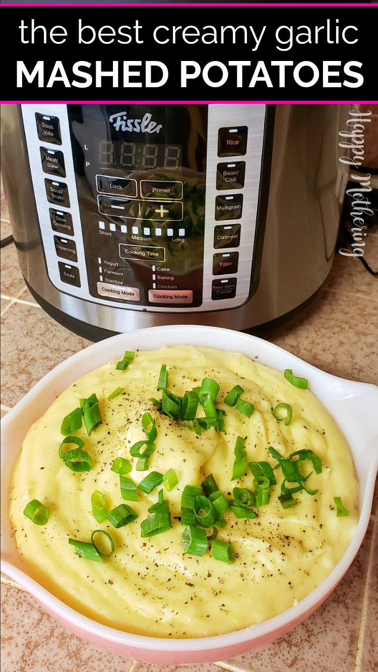 Bowl of creamy garlic mashed potatoes in front of the Fissler Souspreme Multi Pot