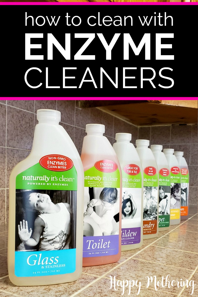 Naturally It's Clean enzyme cleaners lined up on the counter