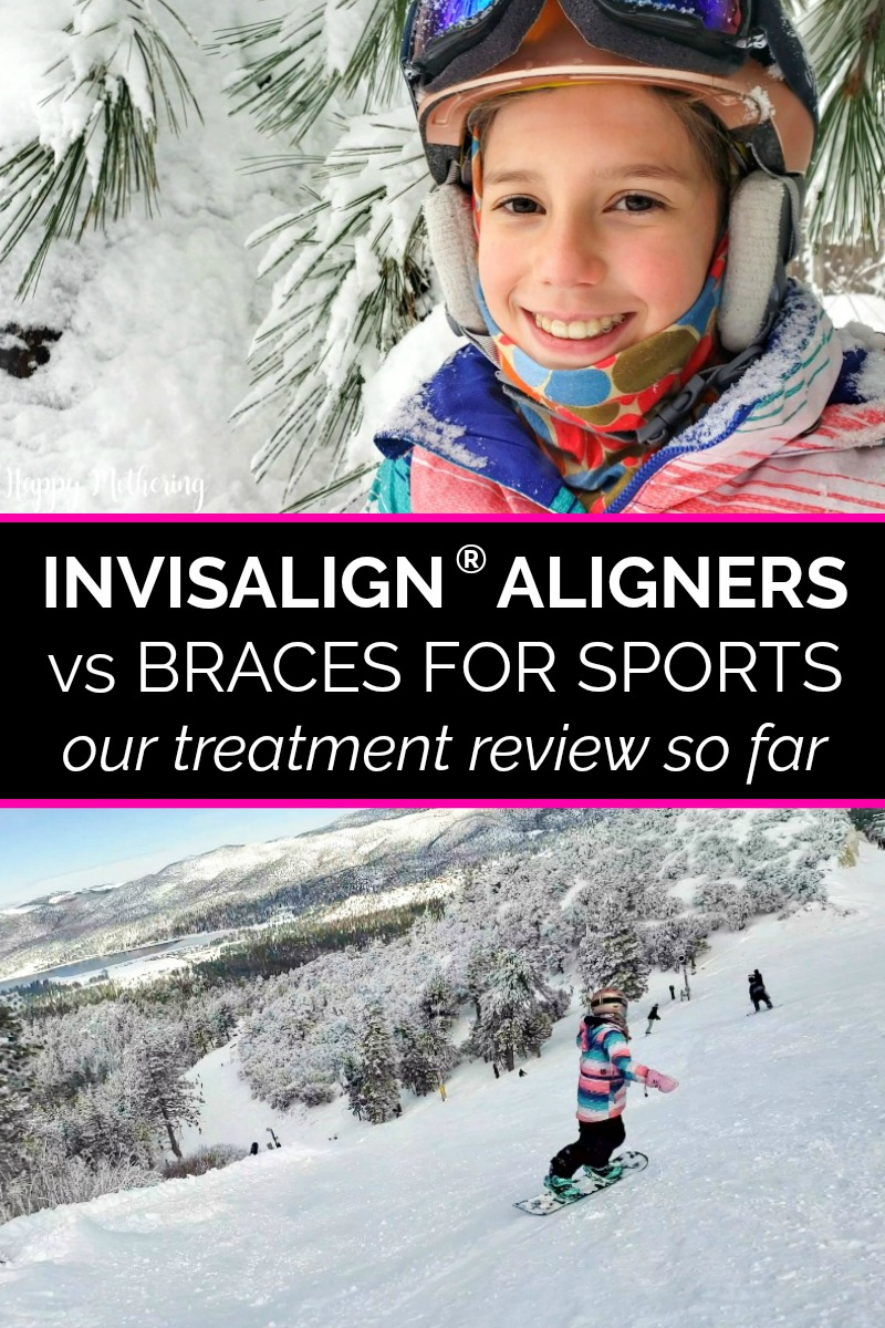 Zoë smiling wearing Invisalign aligners while snowboarding down the mountain