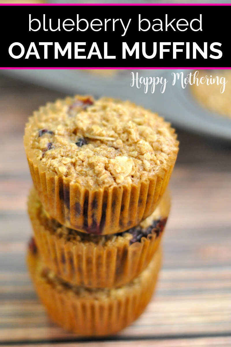 Three Blueberry Baked Oatmeal Muffins stacked up in front of the muffin pan