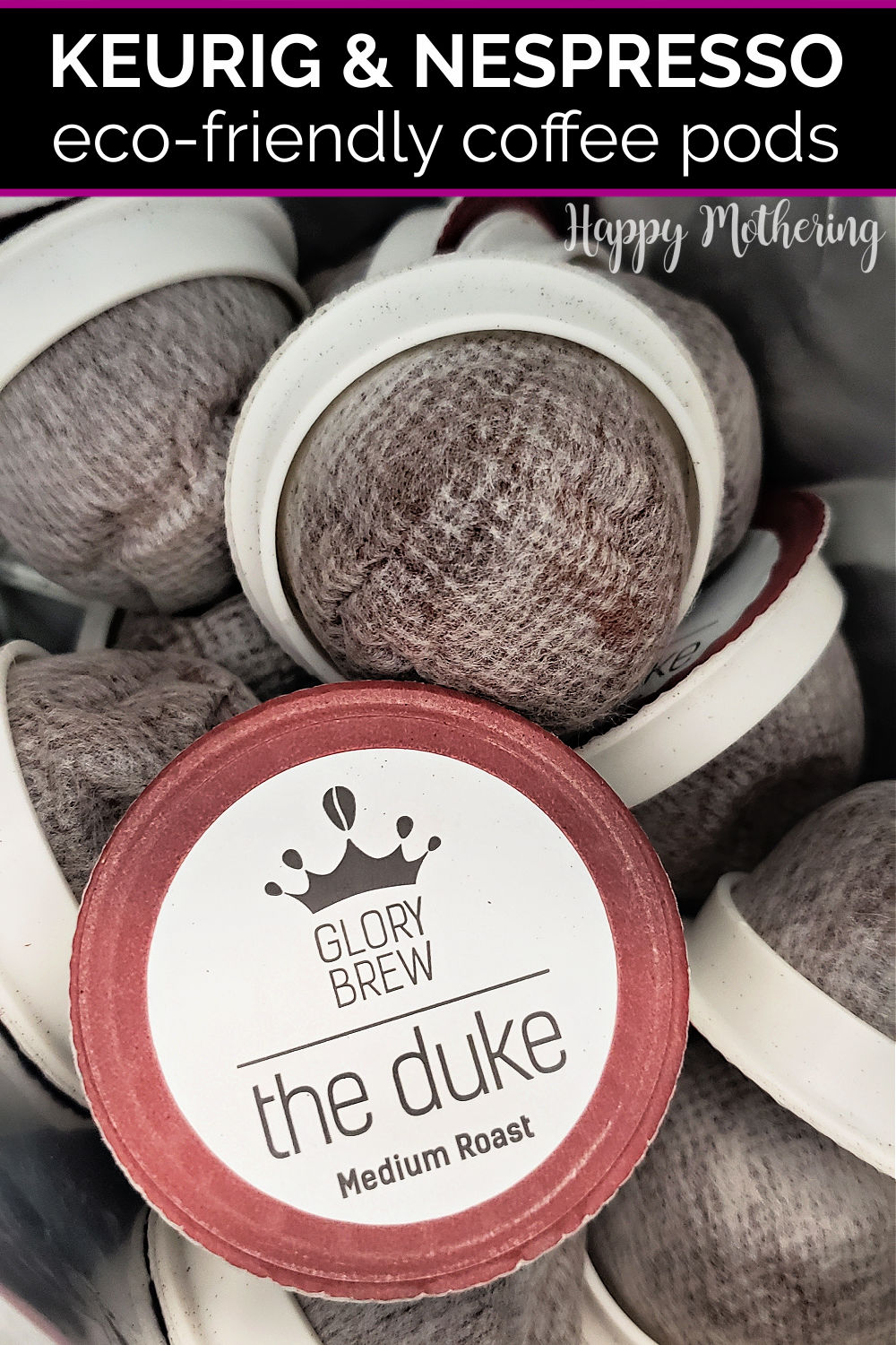 "Glory Brew ""The Duke"" compostable coffee pods in vacuum sealed bag."