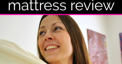 Chrystal Johnson face, dark hair, smiling... text is Mattress Review she's happy about it