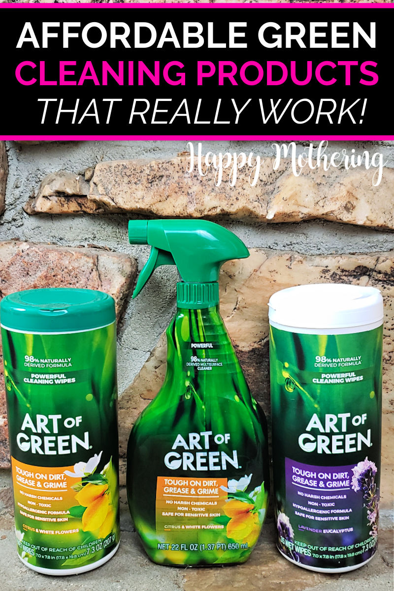 Two containers of Art of Green Cleaning Wipes next to a bottle of all purpose cleaner on the fireplace