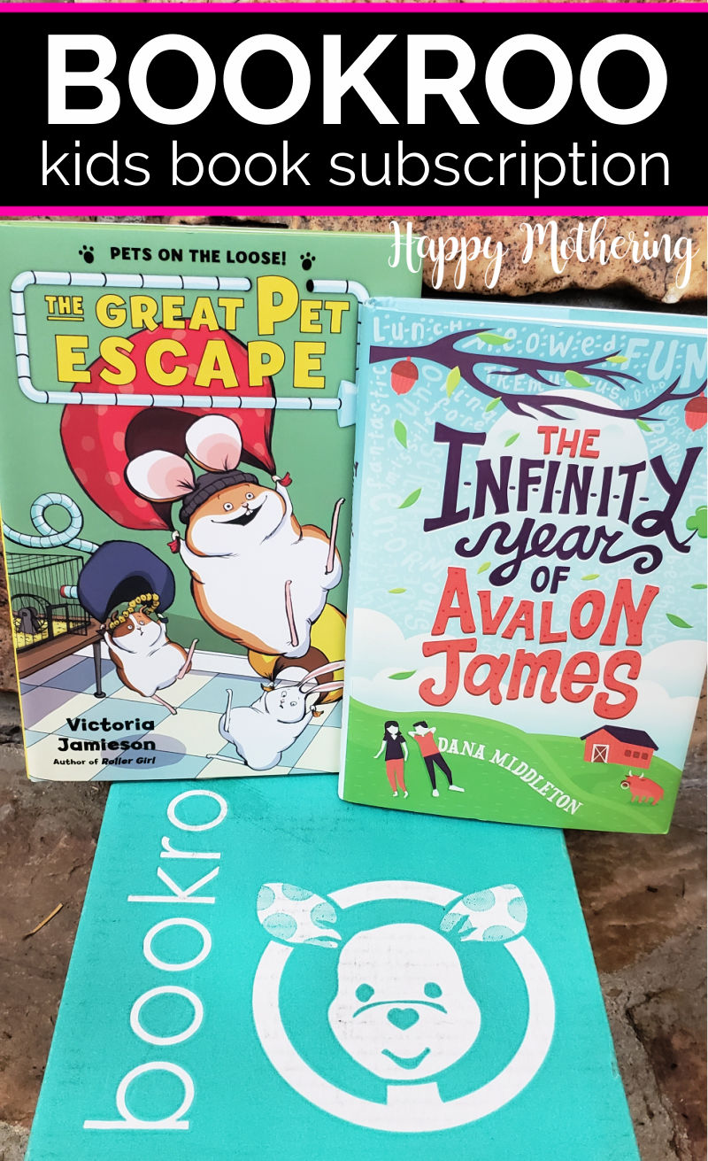 The Great Pet Escape and The Infinity Year of Avalon James books on top of Bookroo subscription box they came in