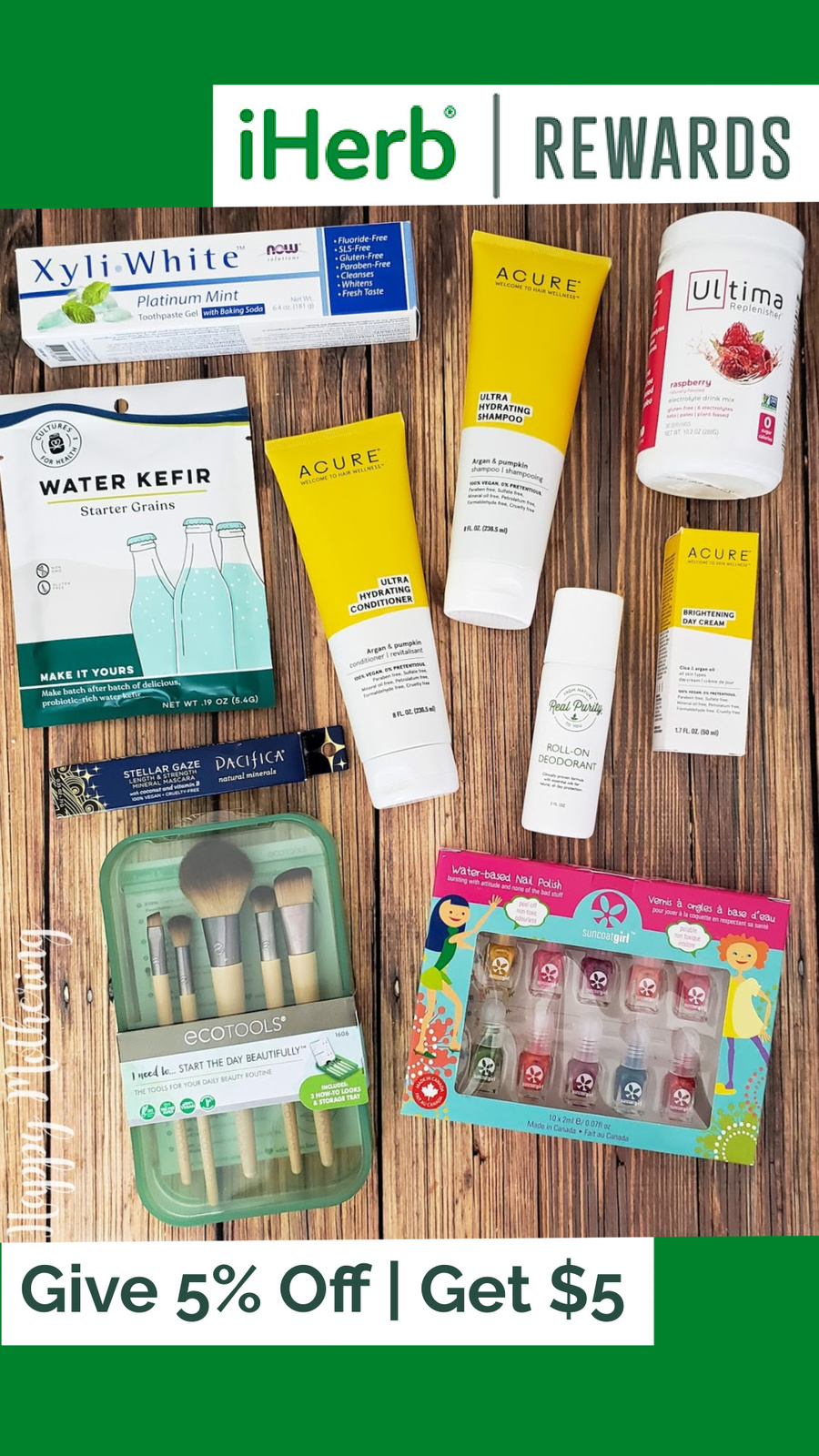 """Overhead view of products purchased on the iHerb website with iHerb rewards logo and the words """"Give 5% off, Get $5"""" printed on a green background."""