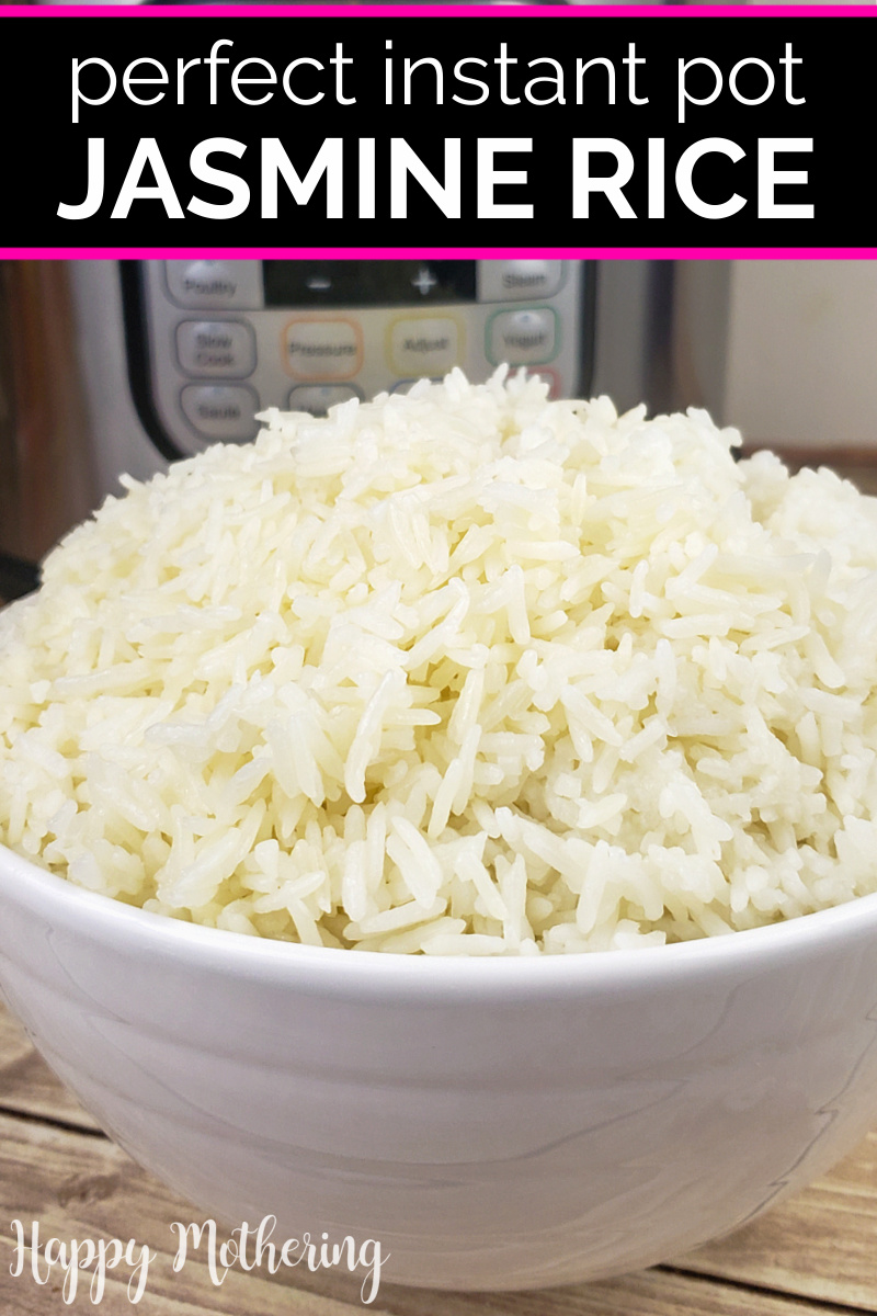 Close up of Jasmine Rice that was cooked in an Instant Pot and served in a white ceramic bowl.