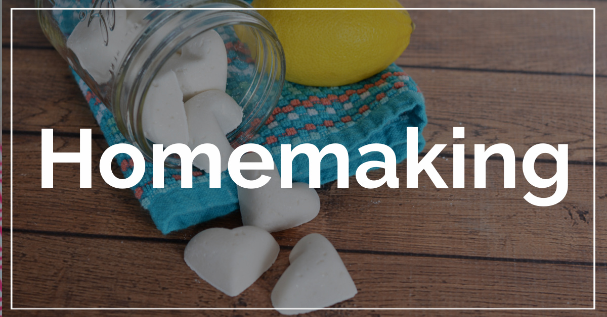 Homemaking category with DIY dishwasher detergent tablets in the background