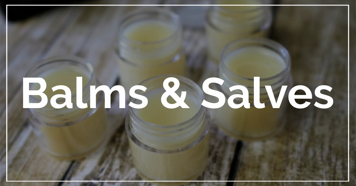 Balms and Salves category. With a background of DIY headache balm.