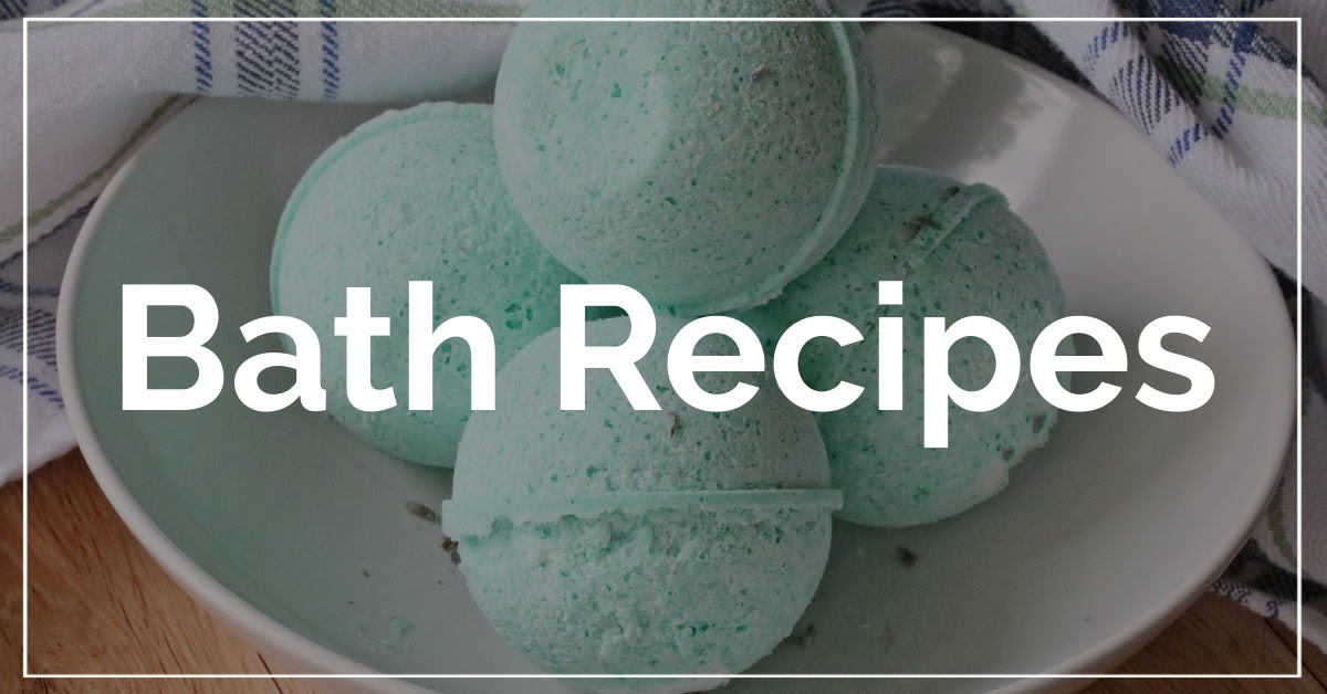 Bath Recipes category. With a background of green bath bombs.
