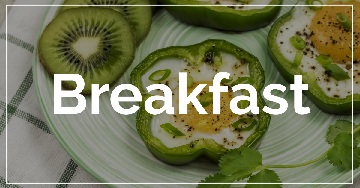 Breakfast category. With a background of bell pepper fried eggs.