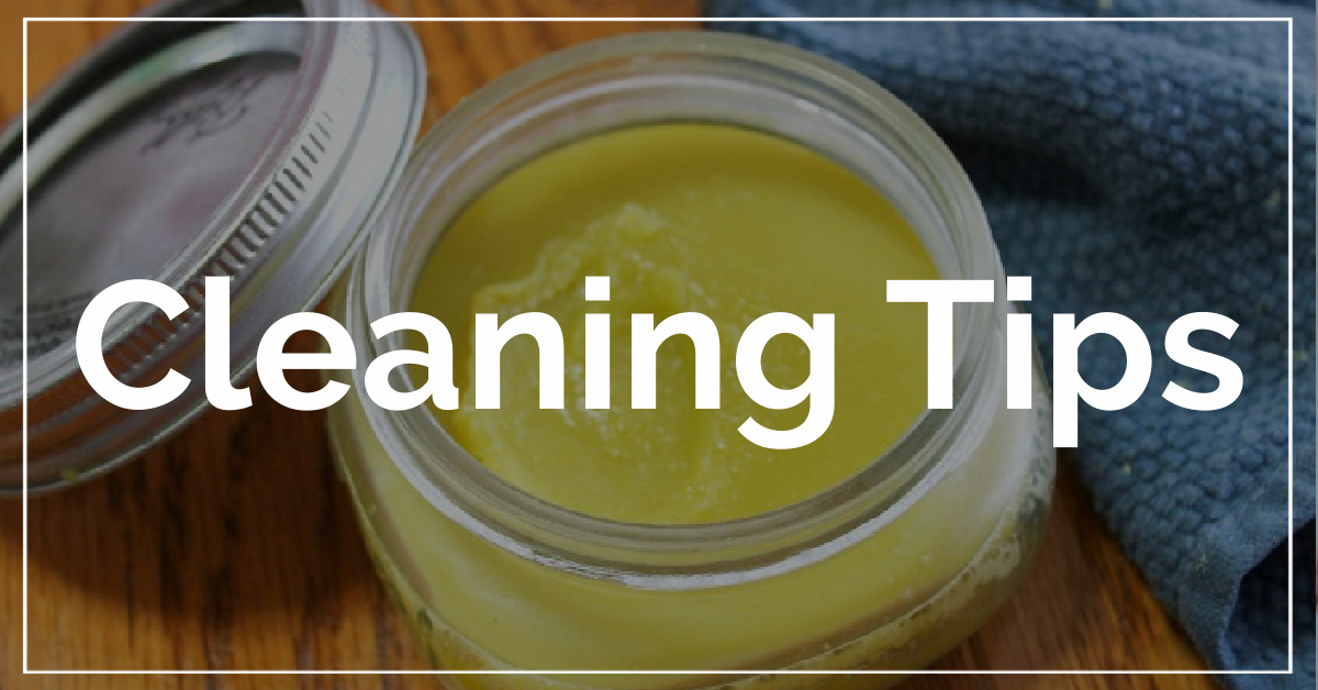 Cleaning Tips category. With a background of furniture polish.