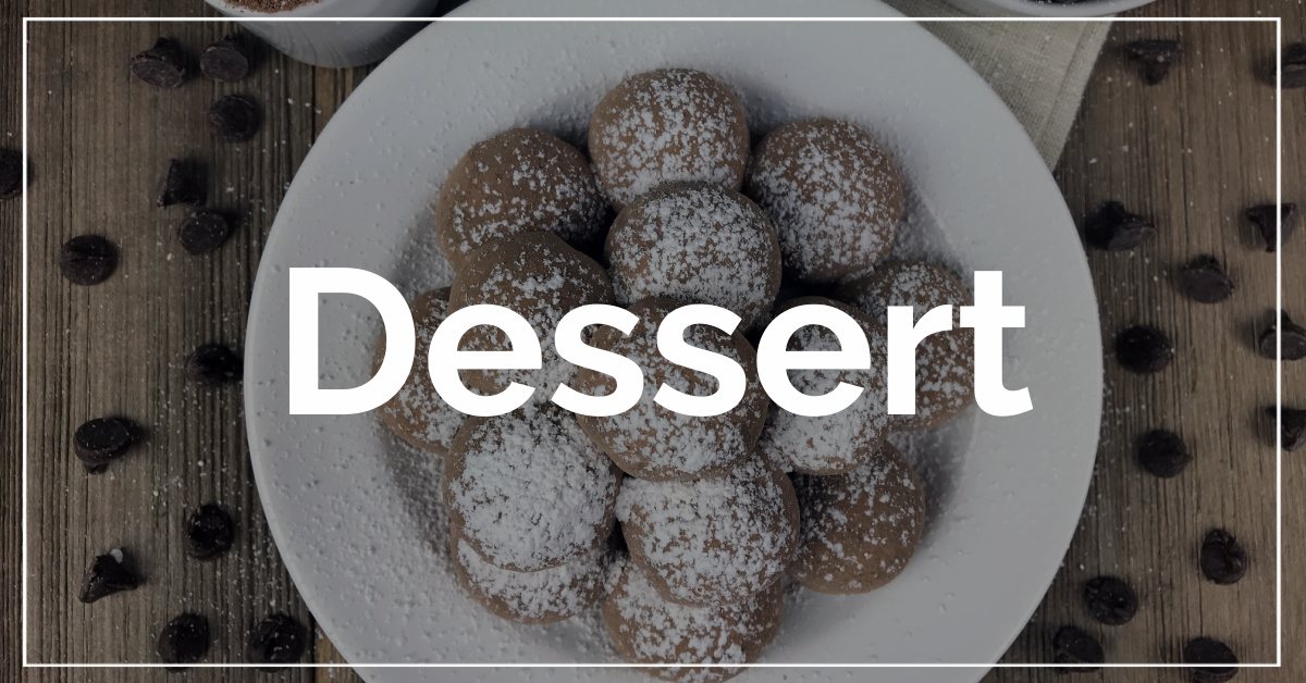 Dessert category. With a background of chocolate truffles.