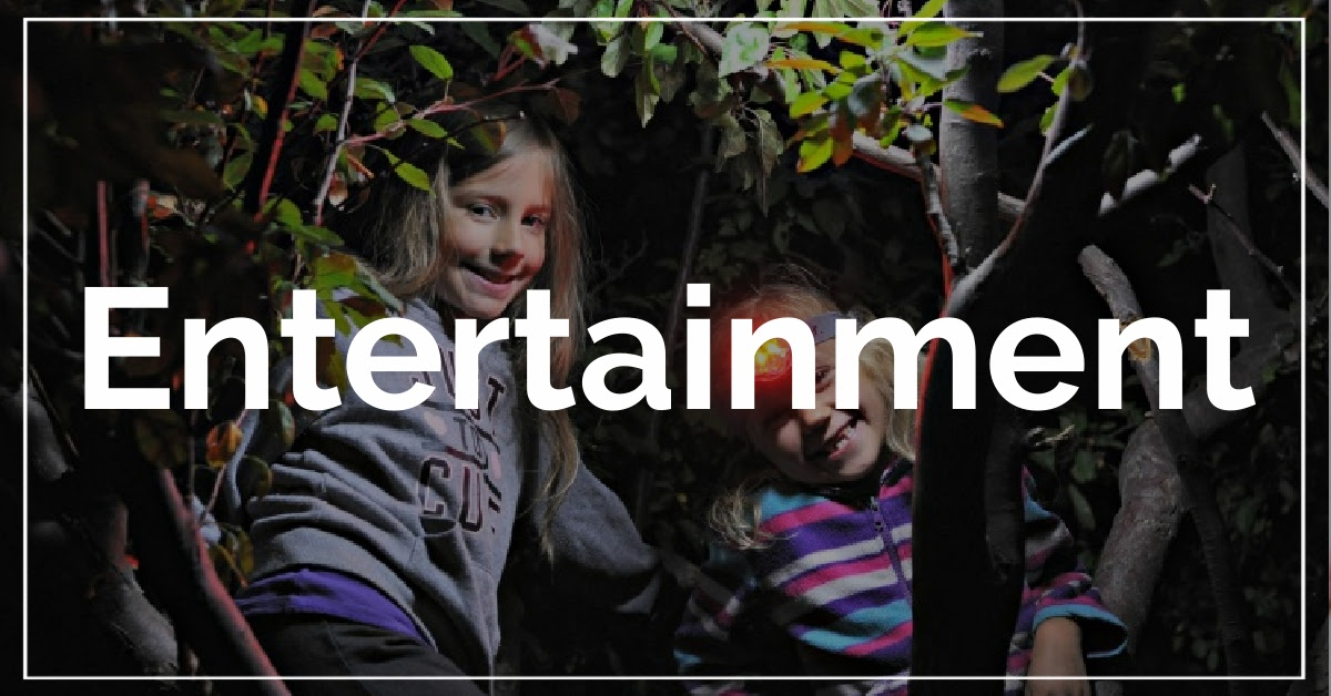 Entertainment category. With a background of girls playing games in tree at night.