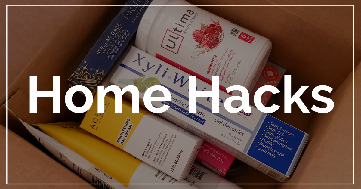 Home Hacks category. With a background of box of personal care products ordered online.