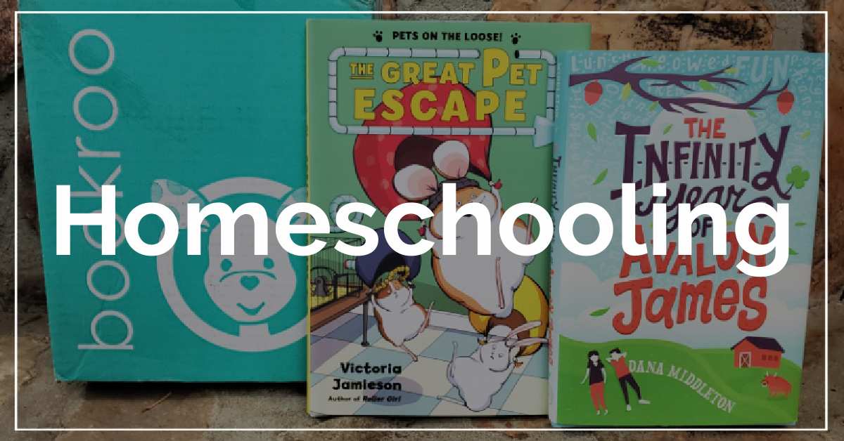 Homeschooling category. With a background of Bookroo subscription box.