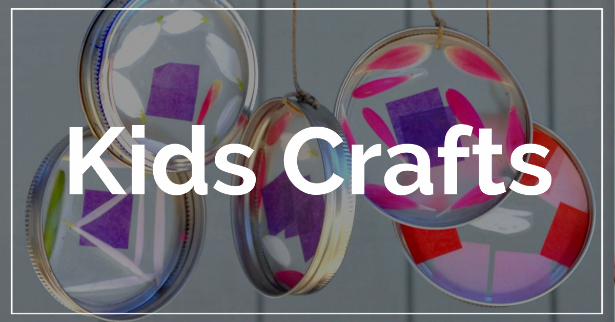 Kids Crafts category. With a background of sun catcher wind chimes.