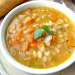 Navy Bean Soup in white bowl.