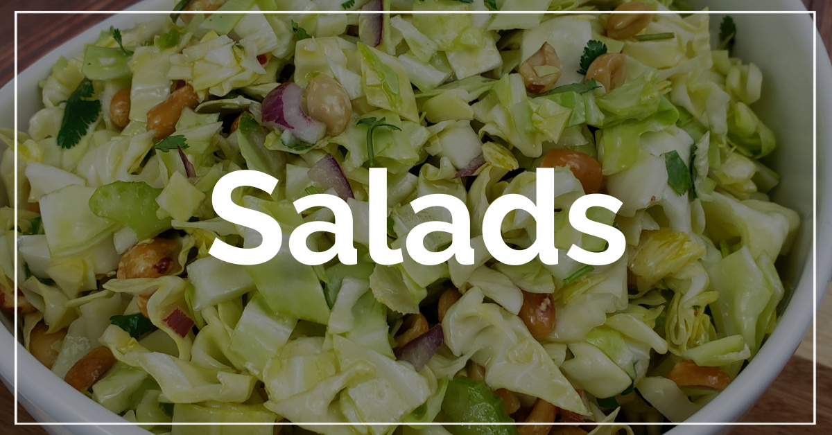 Salads category. With a background of Thai cole slaw.
