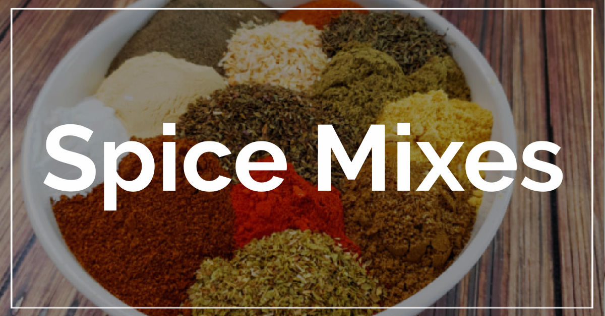 Spice Mixes category. With a background of cajun seasoning ingredients.