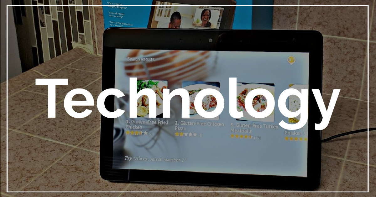 Technology category. With a background of Amazon Echo Show.