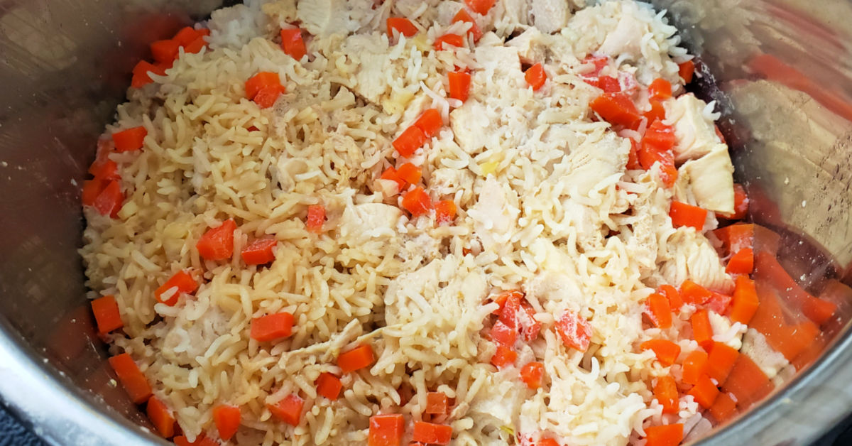 Rice, chicken and carrots after being pressure cooked in Instant Pot.