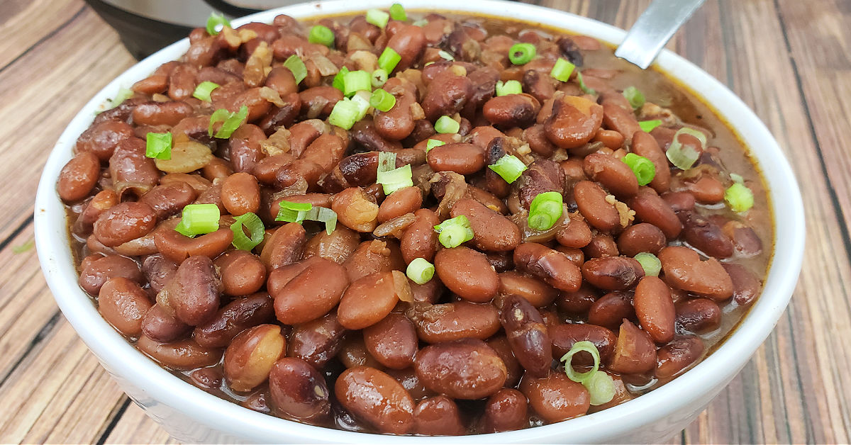 Pinto beans garnished with green onions in white serving bowl.