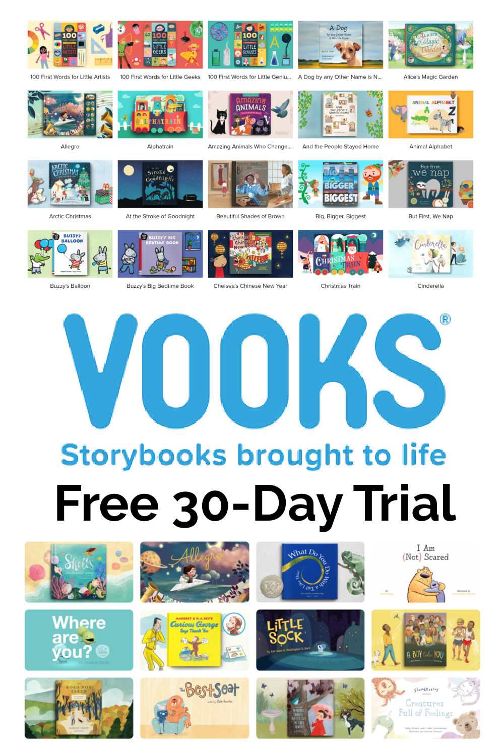 """Books covers from Vooks with Vooks Logo and text that reads, """"Free 30-Day Trial"""""""