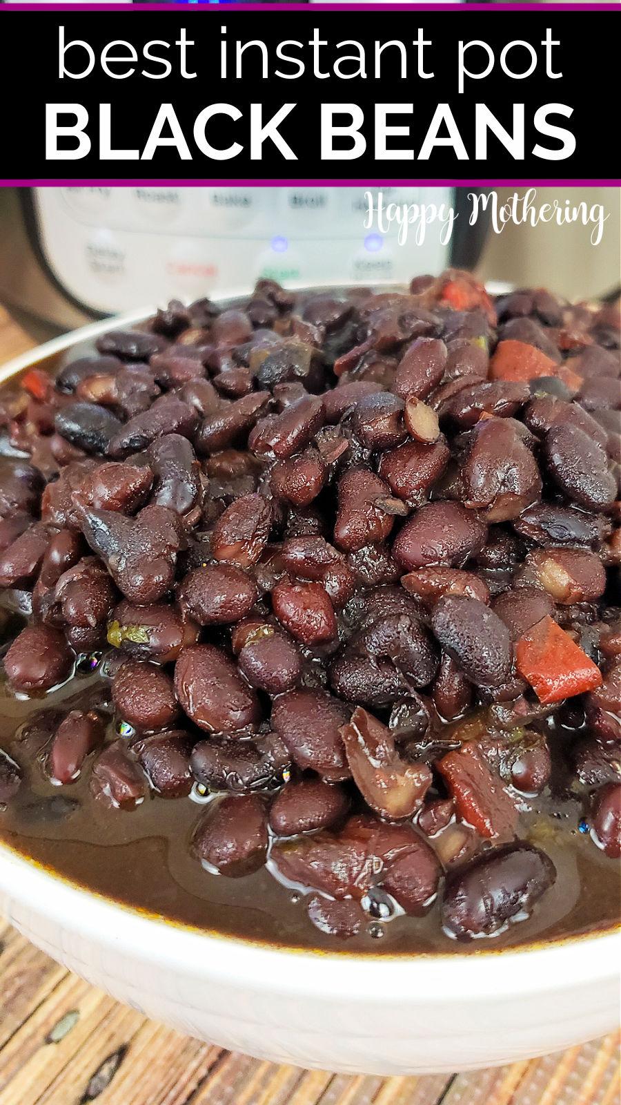 Bowl of Instant Pot Mexican Black Beans.