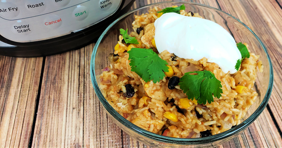 Chicken burrito bowl topped with sour cream and cilantro next to the Instant Pot it was cooked in.