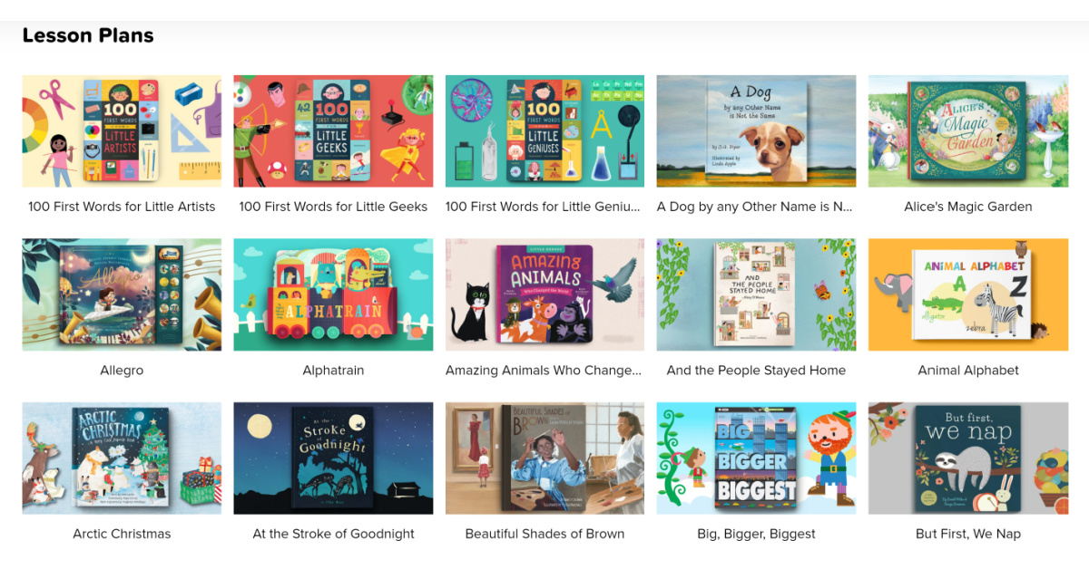 Covers of some books that Vooks offers lesson plans for.