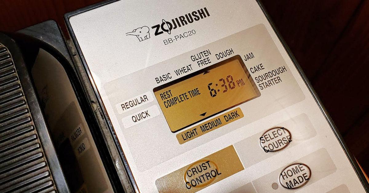 Zojirushi Gluten Free Breadmaker Panel