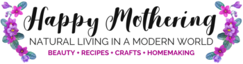 Logo for Happy Mothering; Natural Living in a Modern World; Beauty, Recipes, Crafts, Homemaking