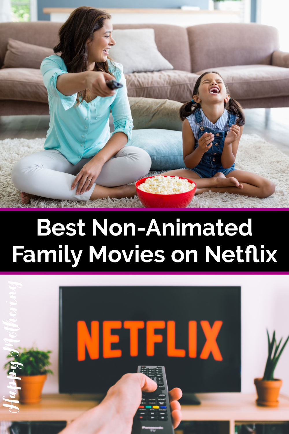 Woman holding TV remote while little girl laughs and eats popcorn; remote pointed at TV with Netflix on screen.