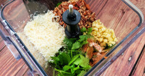 Cilantro, parmesan cheese, pecans, garlic, olive oil and spices in a blender pitcher.