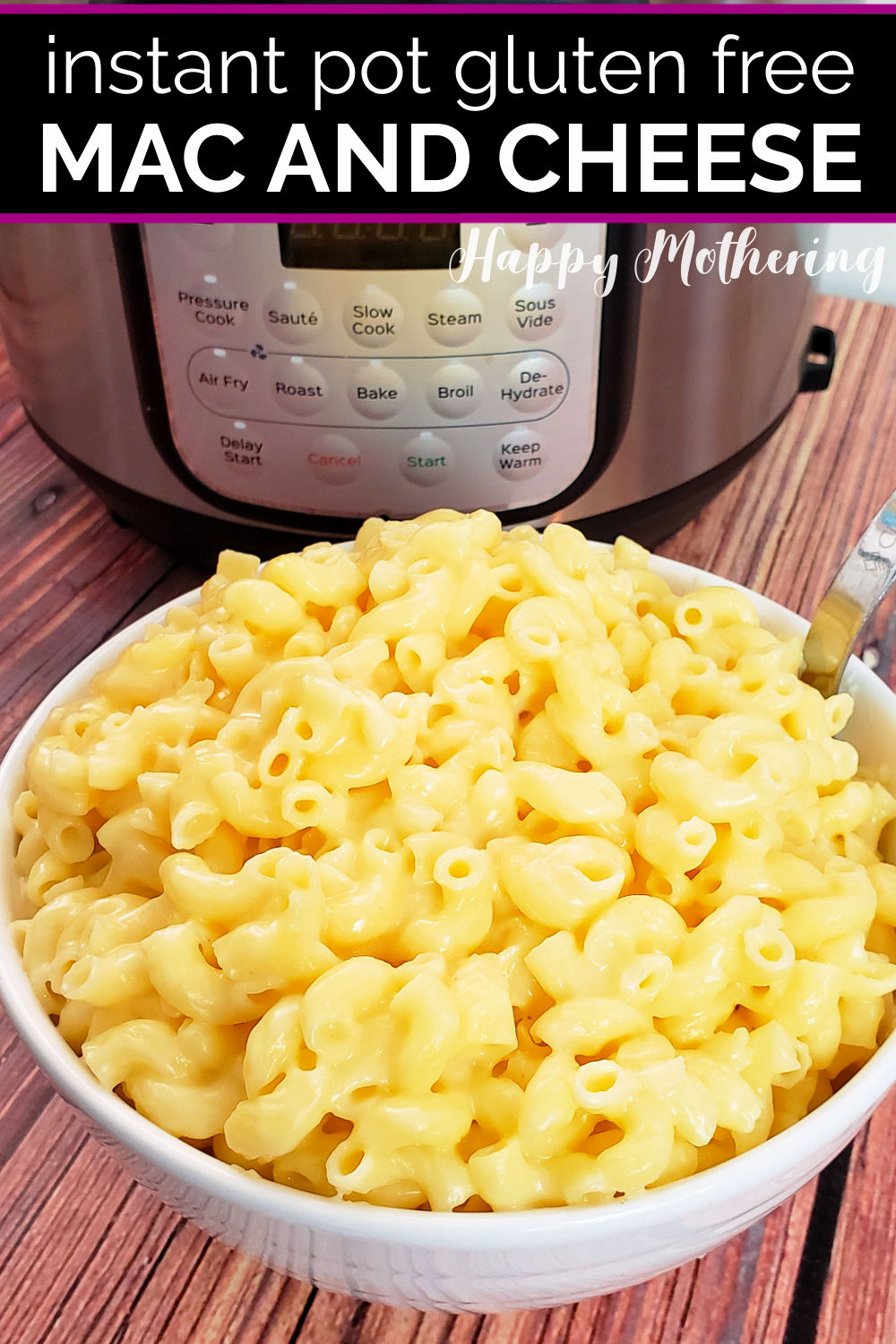 Bowl of gluten free mac and cheese next to Instant Pot.