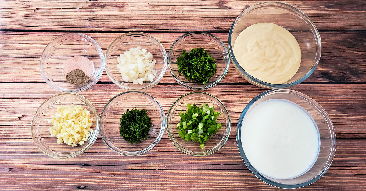 Ingredients for Ranch Dressing Recipe.