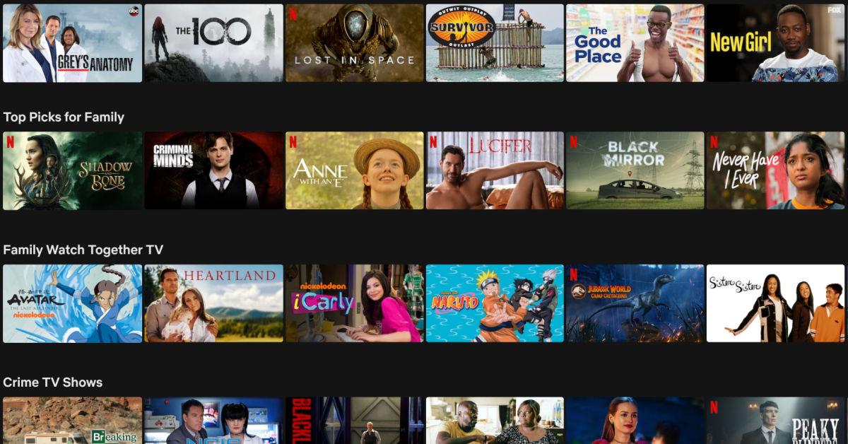 Screenshot of series titles streaming on Netflix now.