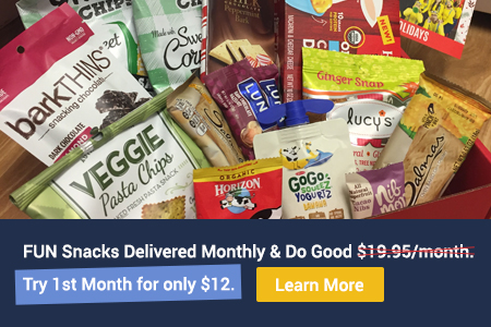 Love with Food Snack Subscription Box advertisement for 40% off first month.
