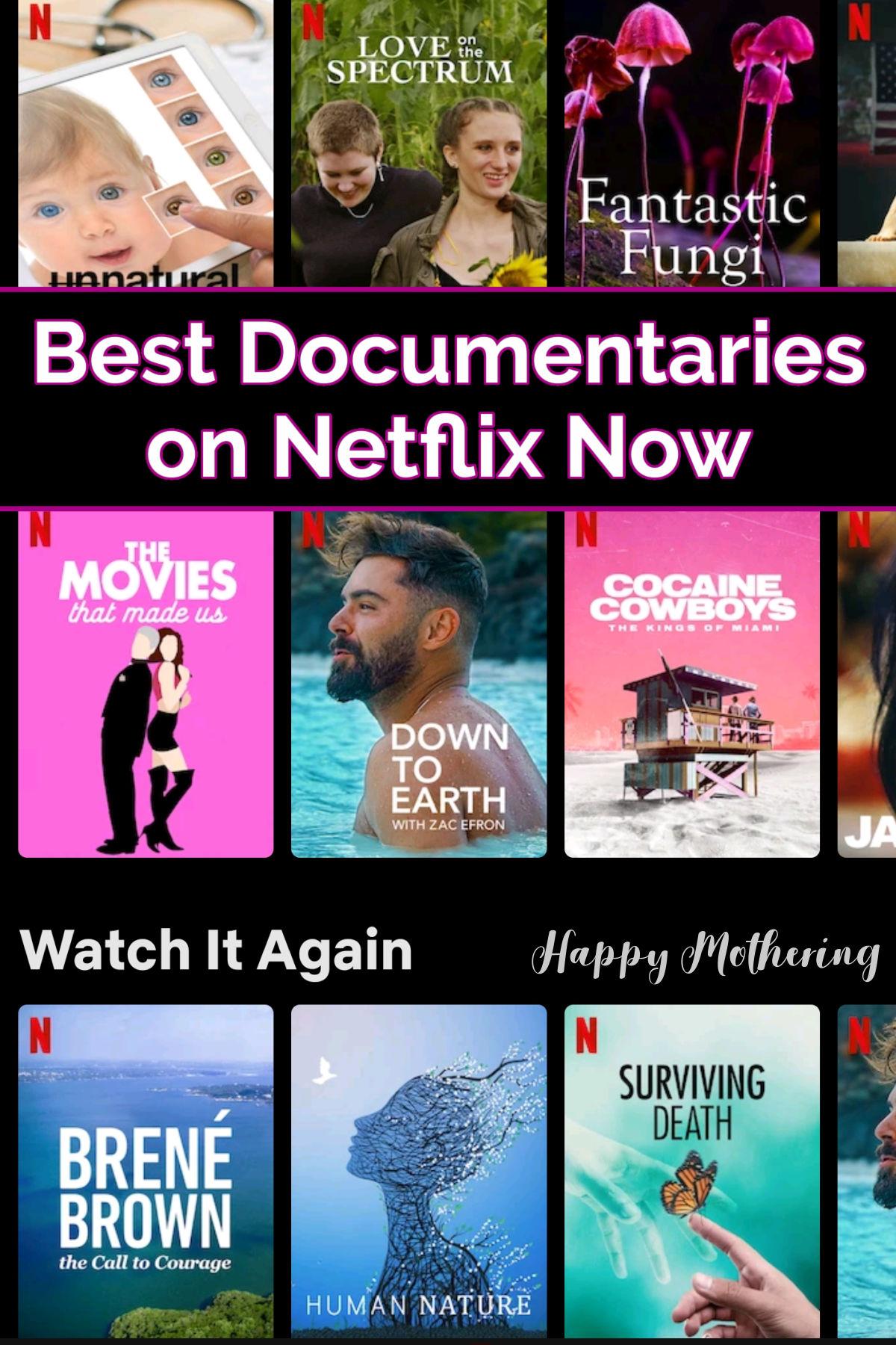 Screenshot of documentaries on Netflix now from app.