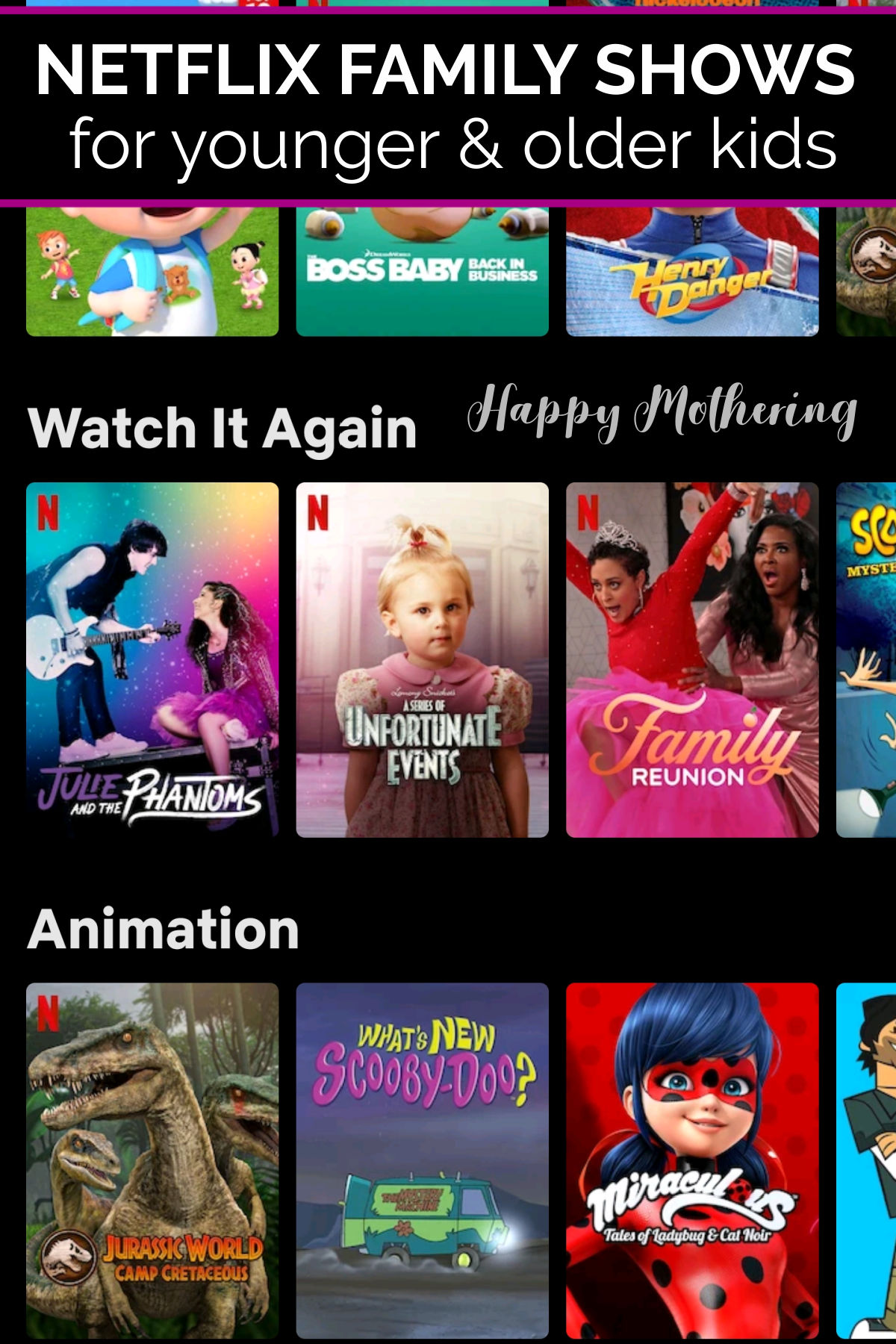 Screenshot from Netflix mobile app of family shows on Netflix.