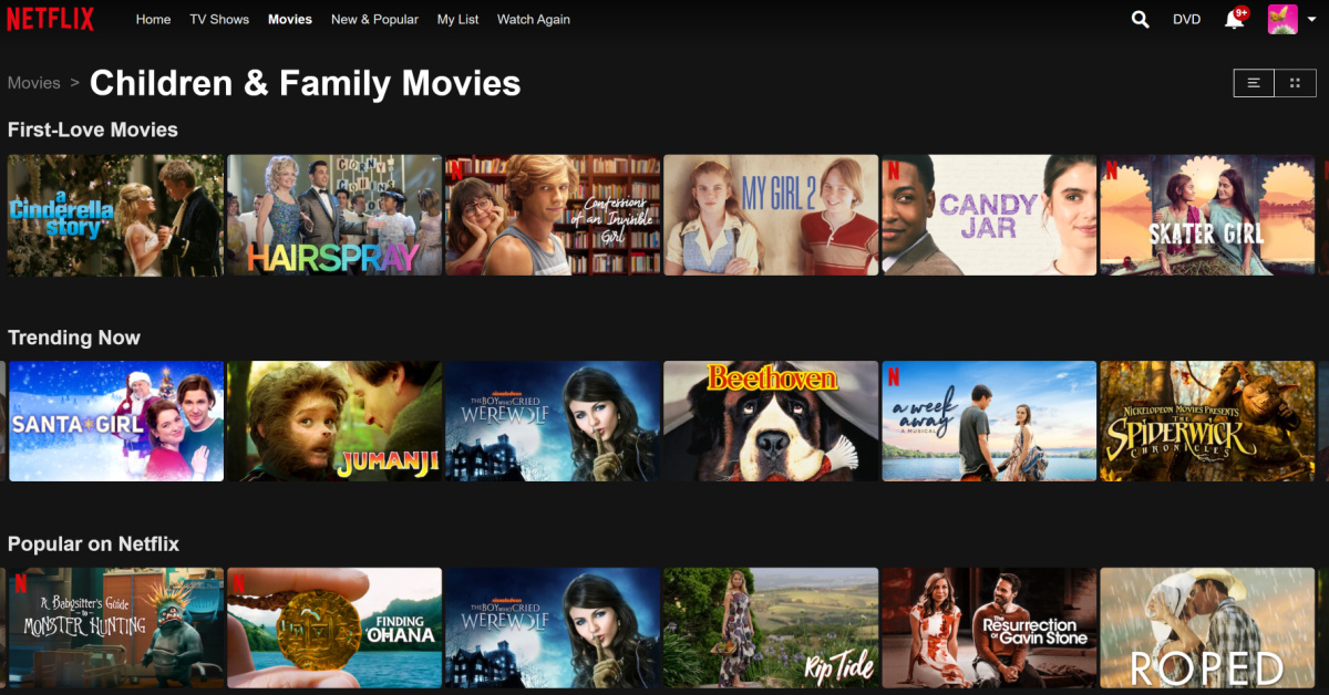 Screenshot of Neflix Kids & Family Movies screen showing non-animated movies.